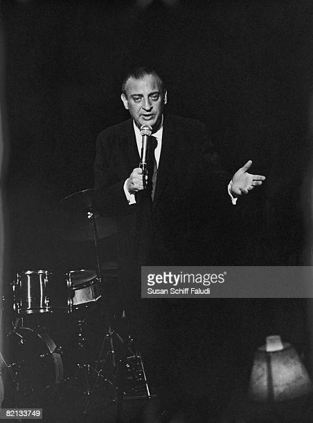 American actor and comedian Rodney Dangerfield performing for the inmates at Rikers Island Jail New York circa 1969
