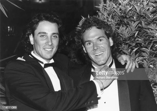 American actor and dancer Matt Lattanzi at the Cannes Film Festival in France, with American producer, director and screenwriter Stephen Sommers, May...