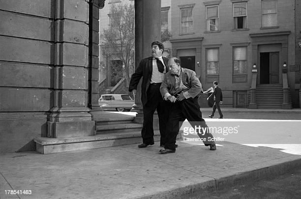 American actor and director Buster Keaton and another actor perform in a scene from an unidentified television program Culver City California 1965
