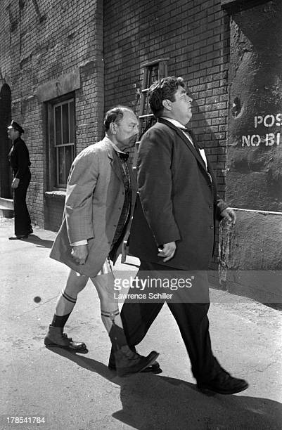 American actor and director Buster Keaton and another actor perform in a scene from an unidentified television program Culver City California 1965...
