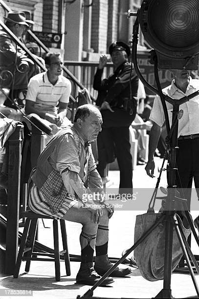 American actor and director Buster Keaton takes a break while on the set of unidentified television program Culver City California 1965