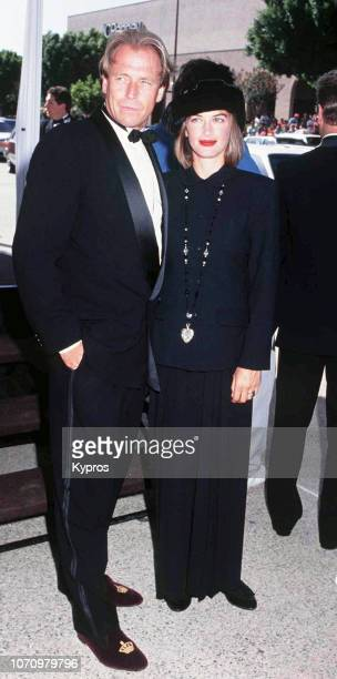 American actor and director Corbin Bernsen and English actress Amanda Pays attend the 44th Annual Primetime Emmy Awards at Pasadena Civic Auditorium...