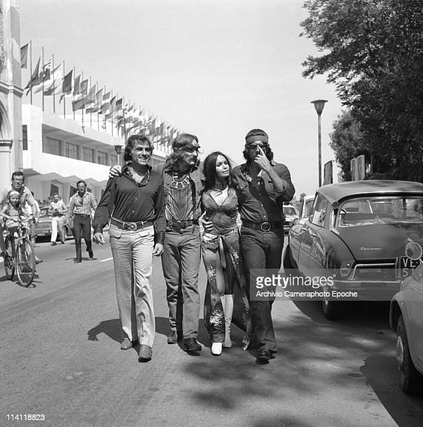 American actor and director Dennis Hopper walking in a row with Tomas Milian Garcia Stella end Daniel Ades other actors of the movie 'The Last Movie'...