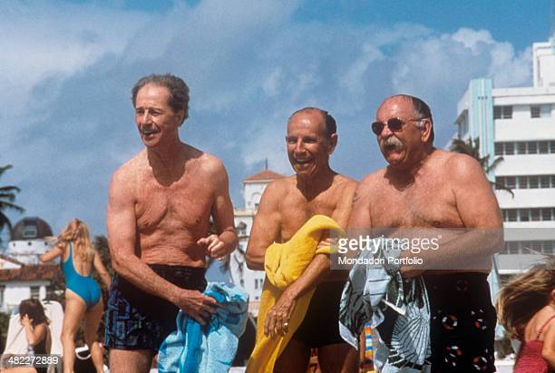 American actor and director Don Ameche American actor Wilford Brimley and Canadian actor Hume Cronyn laughing in swimsuit in the film Cocoon The...