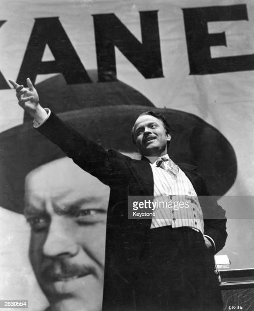 American actor and director Orson Welles in the lead role as Charles Foster Kane in the film 'Citizen Kane', which Welles wrote, produced, directed...