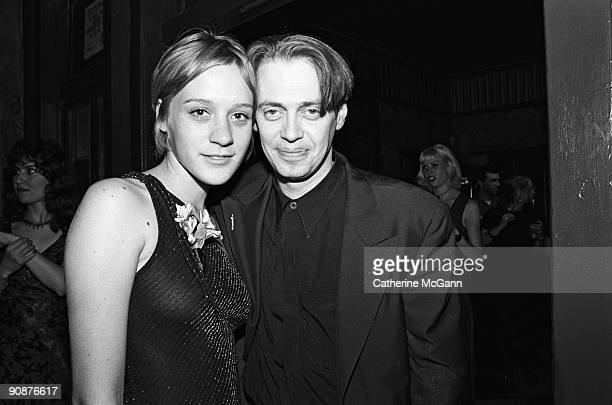 American actor and director Steve Buscemi poses for a photo with American actress Chloe Sevigny at a party for the premiere of his film 'Trees...