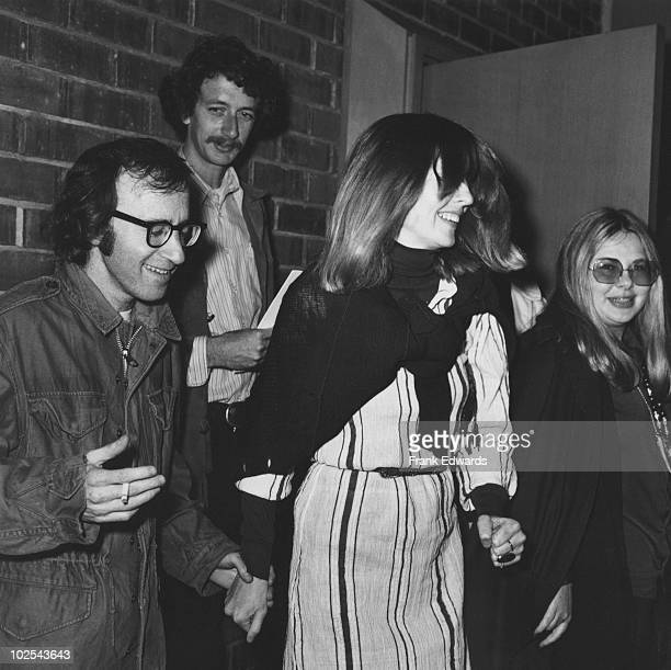 American actor and director Woody Allen with actress Diane Keaton at a screening of 'Paper Moon' 9th April 1973