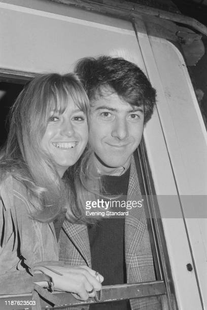 American actor and filmmaker Dustin Hoffman and British actress and producer Susan George who are starring together in 'Straw Dogs', UK, 22nd January...