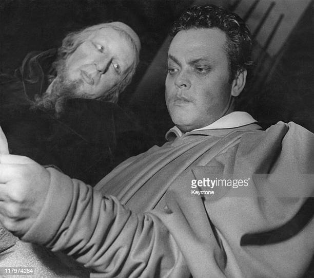 American actor and filmmaker Orson Welles as Faust and Hilton Edwards as Mephisto in Welles' stage adaptation of the Faust myth at the Theatre...