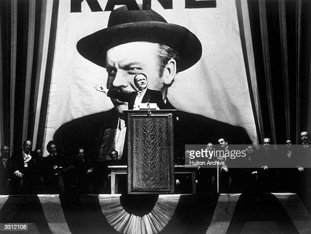 Orson Welles takes the lead role in his film 'Citizen Kane' directed by himself for RKO