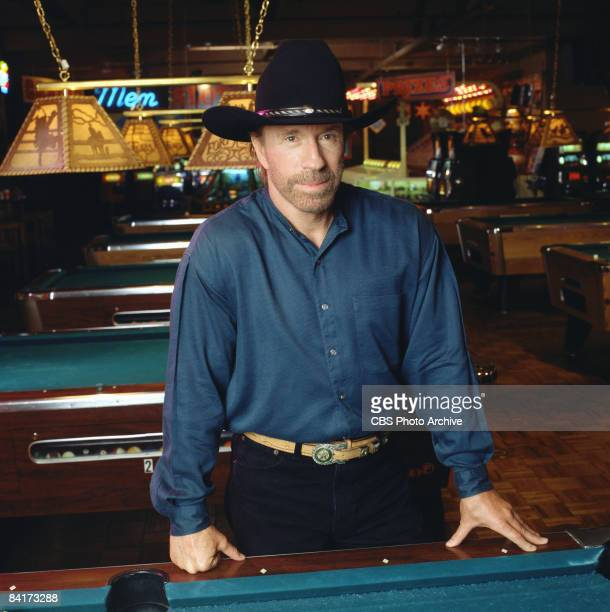 American actor and martial artist Chuck Norris as Cordell �Cord� Walker stands defiantly in a pool hall for the episode �Eyes of a Ranger� for the...