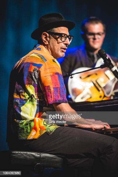 American actor and musician Jeff Goldblum performs live on stage during a concert with the Mildred Snitzer Orchestra at Admiralspalast on November 21...