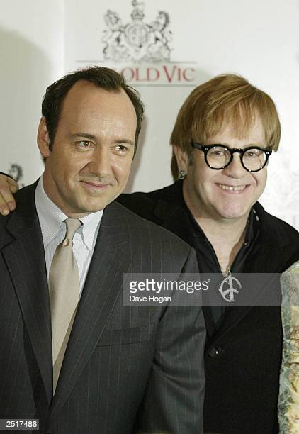 American actor and new director Kevin Spacey and British singer Sir Elton John attend the Grand Concert for the Old Vic Theatre in Old Billingsgate...