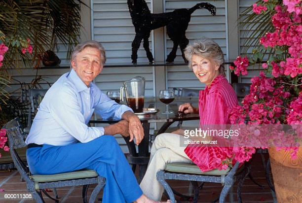 American actor and producer Kirk Douglas and his wife GermanAmerican producer Anne Buydens at home in Palm Springs