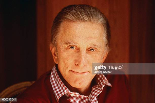 American actor and producer Kirk Douglas at home in Beverly Hills