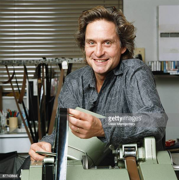 American actor and producer Michael Douglas in an editing suite 1986