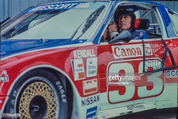 American actor and race car driver Paul Newman at Lime Rock Race Track, Lakeville, Connecticut, 1985.