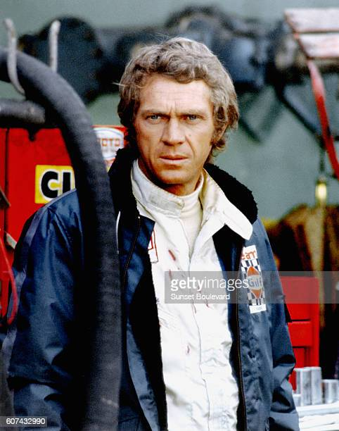 American actor and racer Steve McQueen on the set of Le Mans directed by Lee H Katzin