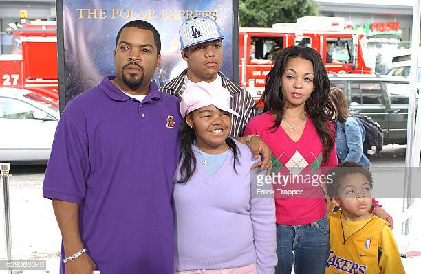 """American actor and rapper Ice Cube and his family arrive at the benefit premiere of the movie """"The Polar Express"""", directed by Robert Zemeckis."""
