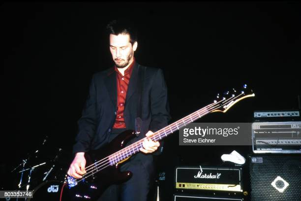 American actor and Rock musician Keanu Reeves, of the group Dogstar, plays bass guitar as he performs onstage at Irving Plaza, New York, New York,...