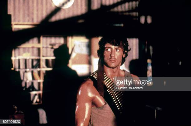 American actor and screenwriter Sylvester Stallone on the set of <Rambo> based on the novel by Canadian David Morrell and directed by Ted Kotcheff