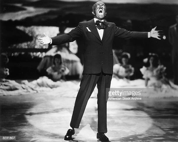 American actor and singer Al Jolson as Jakie Rabinowitz/Jack Robin performs in black face in the first alltalking film director Alan Crosland's 'The...