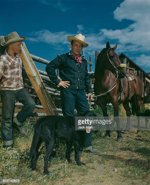 American actor and singer Bing Crosby probably on his family ranch in Elko Nevada circa 1950