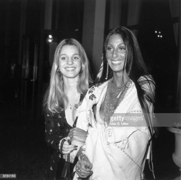 American actor and singer Cher and her halfsister Georganne LaPiere attend the premiere of director Bernardo Bertolucci's film 'Last Tango in Paris'...