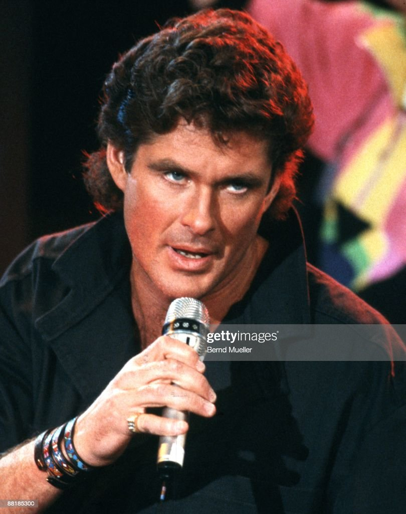 American actor and singer David Hasselhoff performs on Wetten, dass..? tv show in Hof, Germany on March 4 1989.