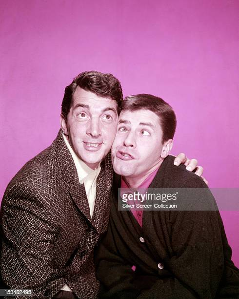 American actor and singer Dean Martin with his screen partner comedian Jerry Lewis circa 1955