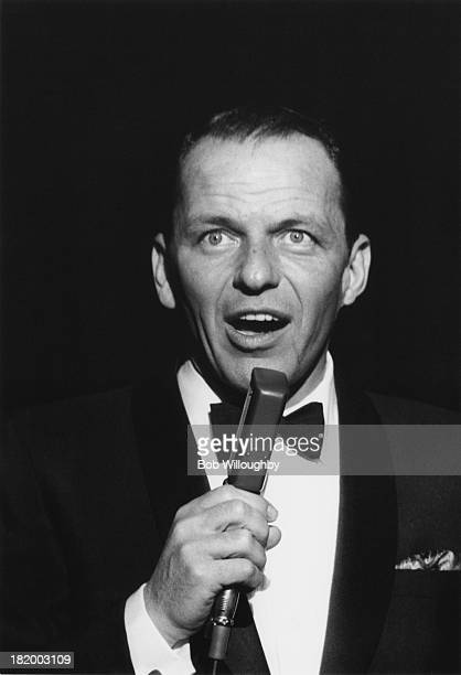 American actor and singer Frank Sinatra performing on stage at the Sands hotel in Las Vegas February 1960