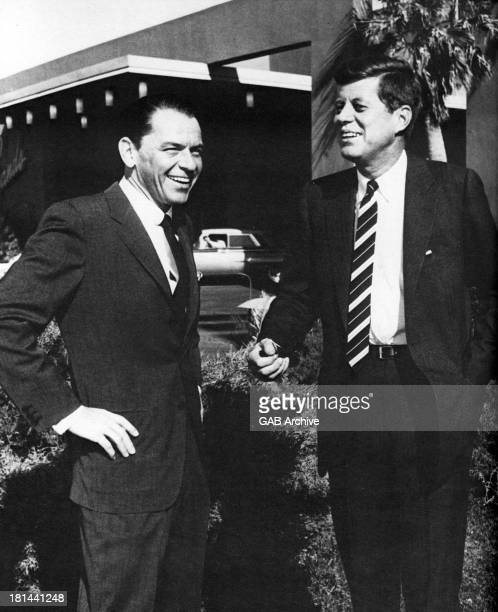 American actor and singer Frank Sinatra with presidential candidate John F. Kennedy at the Sands Hotel in Las Vegas, February 1960.