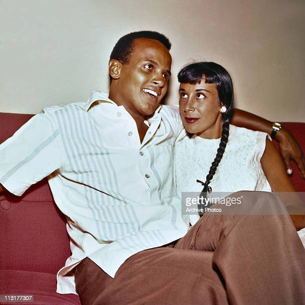 American actor and singer Harry Belafonte with his second wife dancer Julie Robinson in Hollywood in August 1957