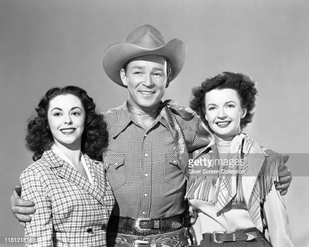 American actor and singer Roy Rogers with his wife, actress Dale Evans and Cuban actress Estelita Rodriguez , circa 1950.