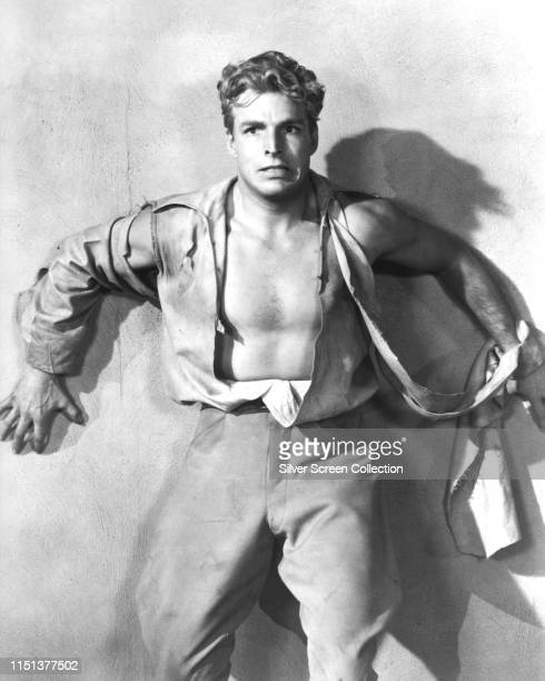 American actor and swimmer Buster Crabbe as the eponymous hero of the Universal serial film 'Buck Rogers' 1939