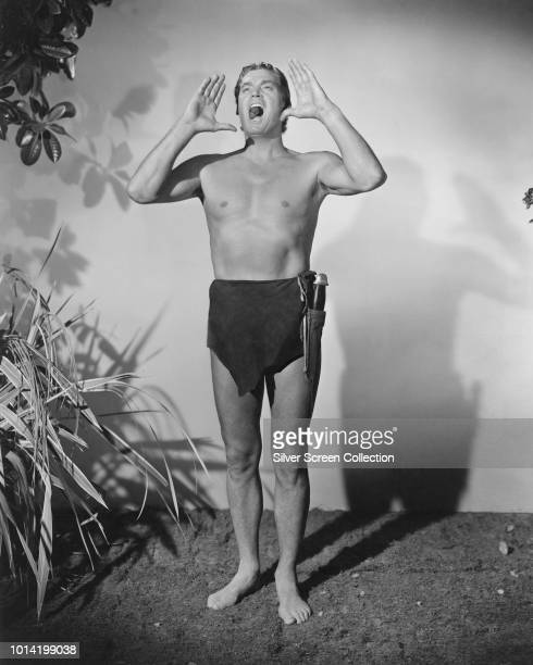 American actor and swimmer Johnny Weissmuller in his most famous screen role as Tarzan circa 1940