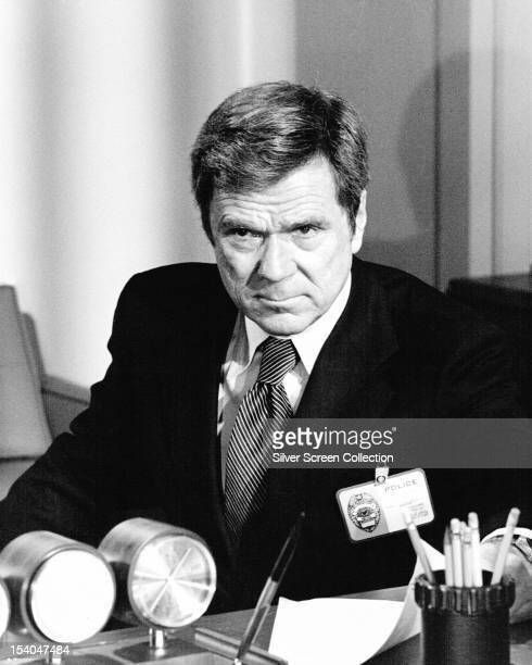 American actor and TV executive Jackie Cooper as a police Lieutenant in 'Robbery 48 hours' an episode in the NBC TV series 'Police Story' 1974