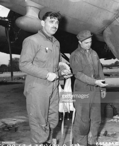 American actor and US Army Air Corps gunner Capt Clark Gable with the 351st Bomb Group England September 23 1943 Gable flew five missions over...