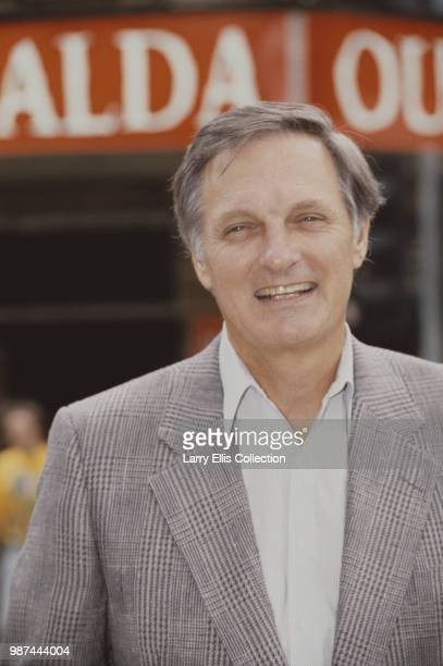 American actor and writer Alan Alda posed outside the Shaftesbury Theatre in London where he is starring in the Thornton Wilder play 'Our Town' 1991
