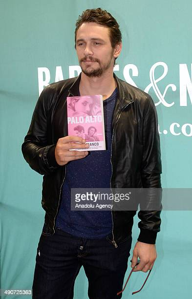 American actor and writer James Franco poses to media with his new book ''Palo Alto'' during the advertising meeting at union square in BarnesNoble...