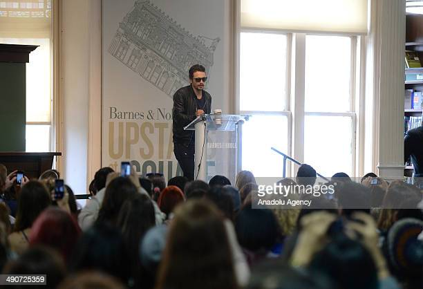 American actor and writer James Franco speaks during the advertisement meeting of his new book ''Palo Alto'' at union square in BarnesNoble...