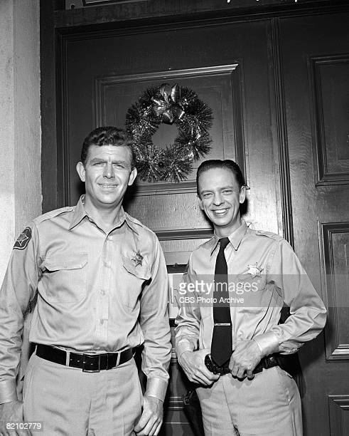American actor Andy Griffith left and American actor Don Knotts appear in an episode of 'The Andy Griffith Show' Los Angeles California October 18...