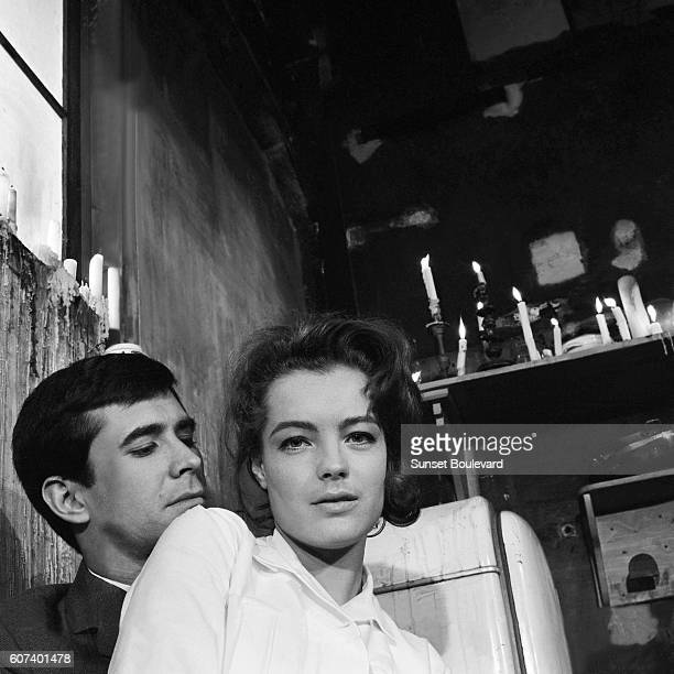 American actor Anthony Perkins and Austrianborn German actress Romy Schneider on the set of Le Proces written and directed by American Orson Welles...
