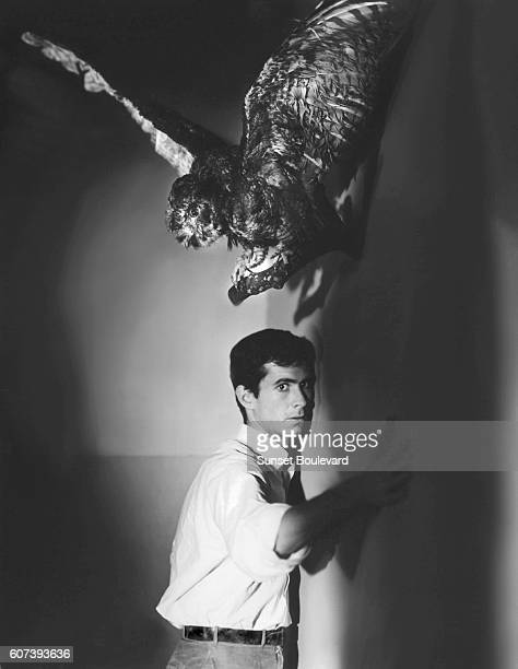 American actor Anthony Perkins on the set of Psycho directed by Alfred Hitchcock