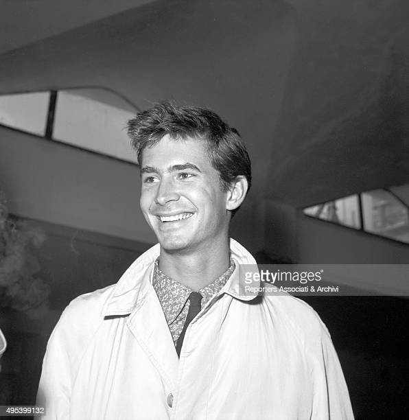 American actor Anthony Perkins smiling at Ciampino Airport Rome 18th February 1957