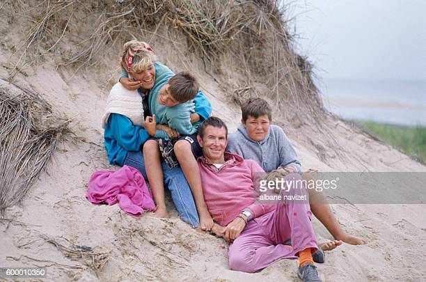 American actor Anthony Perkins with his wife Berry Berenson and their sons Elvis and Osgood.