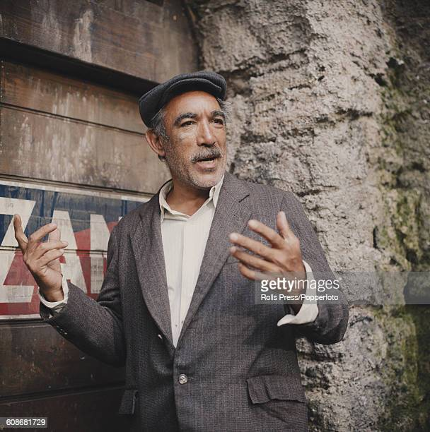 American actor Anthony Quinn pictured in character as Italo Bombolini during production of the film 'The Secret of Santa Vittoria' in Italy in 1968