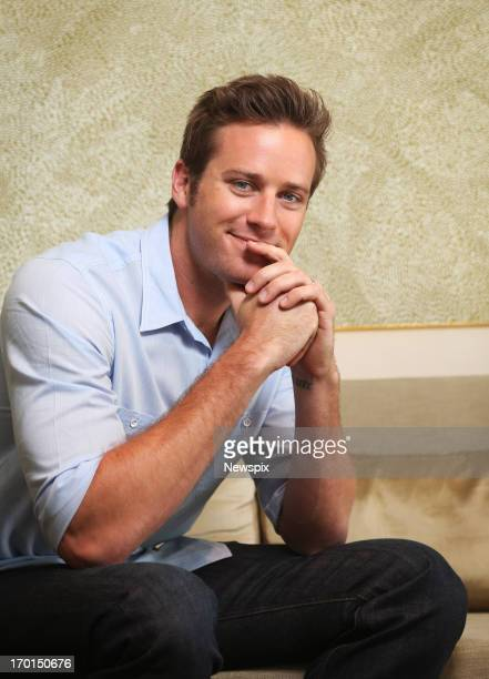 American actor Armie Hammer who is in Australia to promote his new film 'The Lone Ranger' poses during a photo shoot at the Park Hyatt Hotel on June...