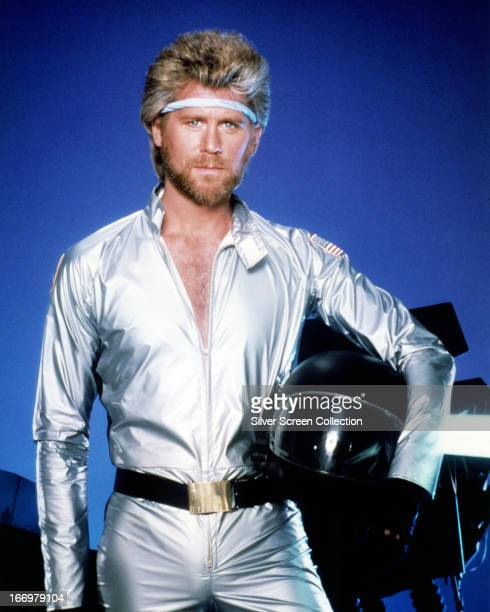 American actor Barry Bostwick as Commander Ace Hunter in a promotional portrait for 'Megaforce' directed by Hal Needham 1982