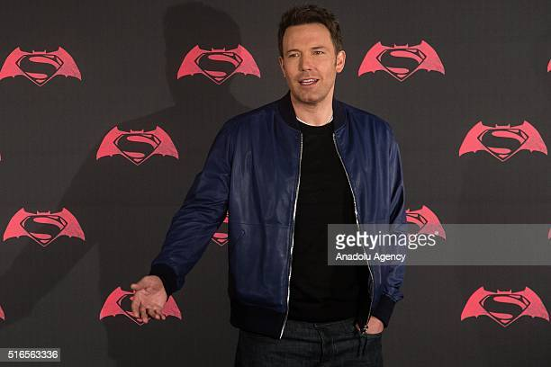 American actor Ben Affleck poses for pictures during the Batman v Superman Movie photocall at St Regis Hotel in Mexico City Mexico on March 19 2016